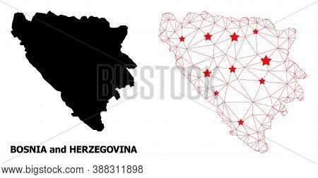 Wire Frame Polygonal And Solid Map Of Bosnia And Herzegovina. Vector Model Is Created From Map Of Bo