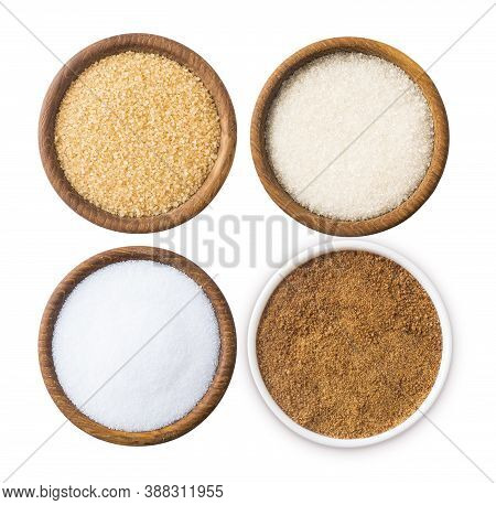 Heap Of Cane Sugar, Coconut Sugar, White Sugar And Erythritol Isolated On White  Top View. Sugar Sub