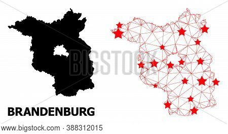 Network Polygonal And Solid Map Of Brandenburg State. Vector Model Is Created From Map Of Brandenbur