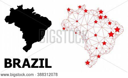 Wire Frame Polygonal And Solid Map Of Brazil. Vector Model Is Created From Map Of Brazil With Red St