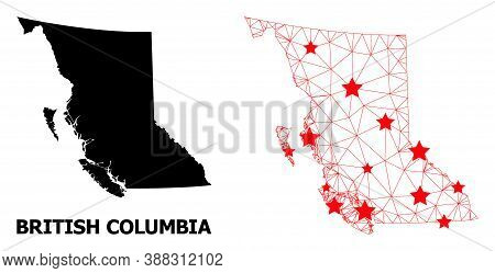 Carcass Polygonal And Solid Map Of British Columbia Province. Vector Model Is Created From Map Of Br