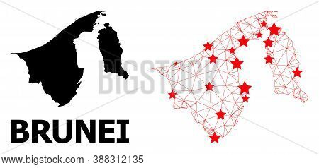 2d Polygonal And Solid Map Of Brunei. Vector Structure Is Created From Map Of Brunei With Red Stars.
