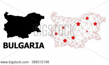 Wire Frame Polygonal And Solid Map Of Bulgaria. Vector Structure Is Created From Map Of Bulgaria Wit