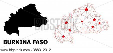 Network Polygonal And Solid Map Of Burkina Faso. Vector Structure Is Created From Map Of Burkina Fas