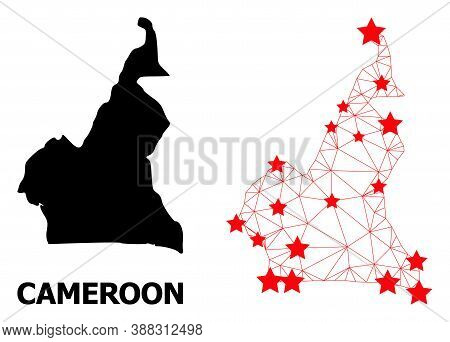 Wire Frame Polygonal And Solid Map Of Cameroon. Vector Model Is Created From Map Of Cameroon With Re