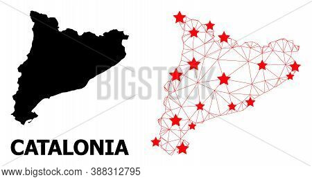 2d Polygonal And Solid Map Of Catalonia. Vector Model Is Created From Map Of Catalonia With Red Star