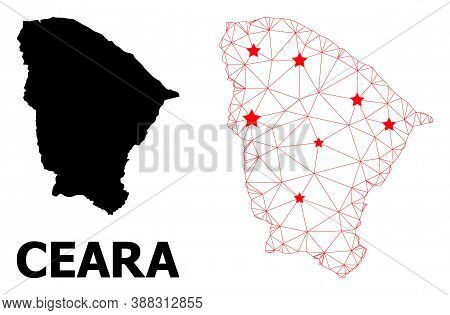 Network Polygonal And Solid Map Of Ceara State. Vector Model Is Created From Map Of Ceara State With