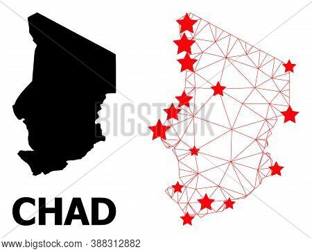 Wire Frame Polygonal And Solid Map Of Chad. Vector Structure Is Created From Map Of Chad With Red St