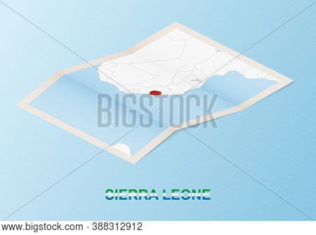 Folded Paper Map Of Sierra Leone With Neighboring Countries In Isometric Style On Blue Vector Backgr