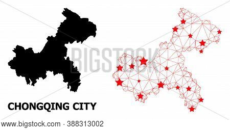 Wire Frame Polygonal And Solid Map Of Chongqing Municipality. Vector Structure Is Created From Map O