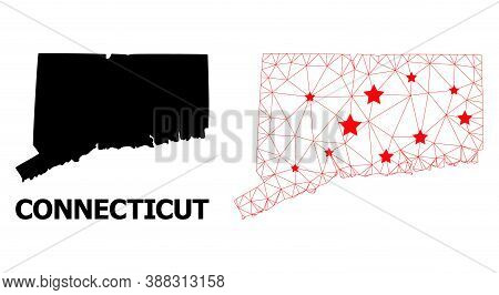 Mesh Polygonal And Solid Map Of Connecticut State. Vector Structure Is Created From Map Of Connectic