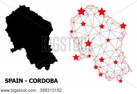 Carcass Polygonal And Solid Map Of Cordoba Spanish Province. Vector Model Is Created From Map Of Cor