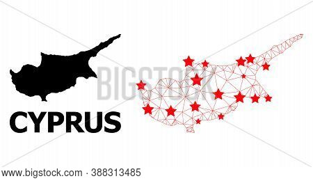 Mesh Polygonal And Solid Map Of Cyprus Island. Vector Structure Is Created From Map Of Cyprus Island