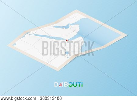 Folded Paper Map Of Djibouti With Neighboring Countries In Isometric Style On Blue Vector Background
