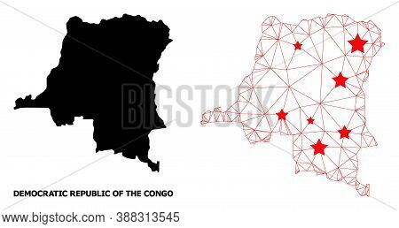 Wire Frame Polygonal And Solid Map Of Democratic Republic Of The Congo. Vector Model Is Created From