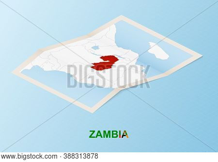 Folded Paper Map Of Zambia With Neighboring Countries In Isometric Style On Blue Vector Background.