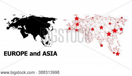 Wire Frame Polygonal And Solid Map Of Europe And Asia. Vector Structure Is Created From Map Of Europ