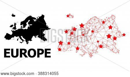 Carcass Polygonal And Solid Map Of Europe. Vector Structure Is Created From Map Of Europe With Red S