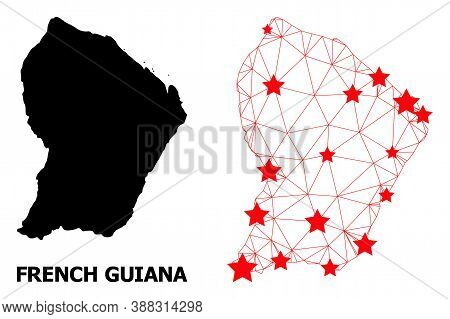 Wire Frame Polygonal And Solid Map Of French Guiana. Vector Structure Is Created From Map Of French