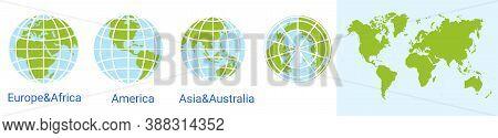 Globe World Icon. World Map. Globe Of Asia Australia, Europe, Africa, North America, South America,