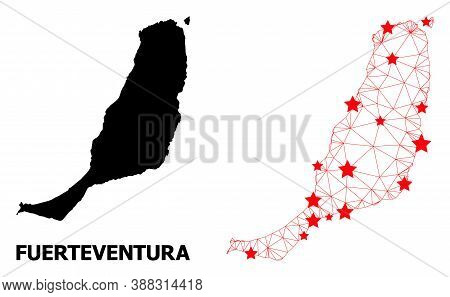 2d Polygonal And Solid Map Of Fuerteventura Island. Vector Structure Is Created From Map Of Fuerteve