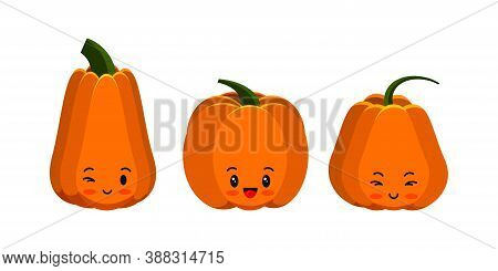 Pumpkin Cute Emoji Icon Set Isolated On White. Thanksgiving, Halloween Emoticon Character Collection