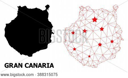 Wire Frame Polygonal And Solid Map Of Gran Canaria. Vector Model Is Created From Map Of Gran Canaria