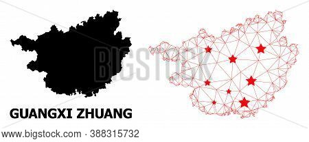 Wire Frame Polygonal And Solid Map Of Guangxi Zhuang Region. Vector Structure Is Created From Map Of