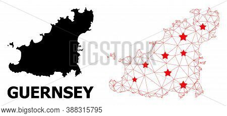 Wire Frame Polygonal And Solid Map Of Guernsey Island. Vector Structure Is Created From Map Of Guern
