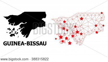 Mesh Polygonal And Solid Map Of Guinea-bissau. Vector Structure Is Created From Map Of Guinea-bissau