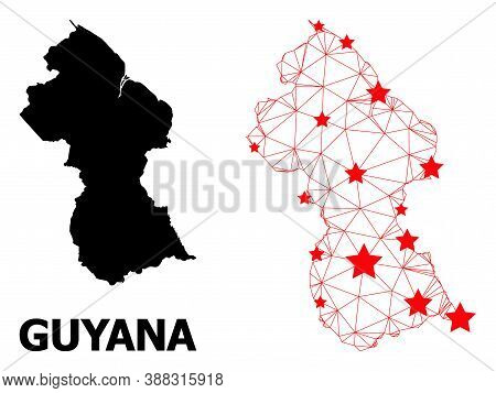 Mesh Polygonal And Solid Map Of Guyana. Vector Model Is Created From Map Of Guyana With Red Stars. A