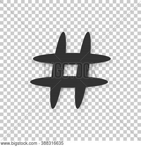 Hashtag Icon. Flat Style Icon Hashtag On Transparent Background. Vector Illustration