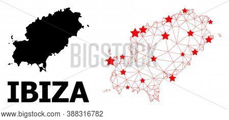 2d Polygonal And Solid Map Of Ibiza Island. Vector Model Is Created From Map Of Ibiza Island With Re