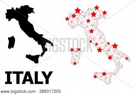 Network Polygonal And Solid Map Of Italy. Vector Model Is Created From Map Of Italy With Red Stars.