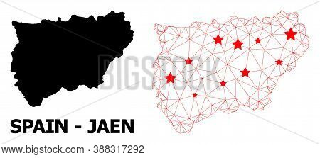 Network Polygonal And Solid Map Of Jaen Spanish Province. Vector Model Is Created From Map Of Jaen S