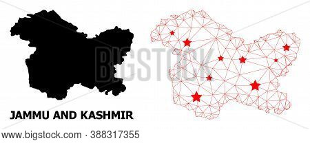 Carcass Polygonal And Solid Map Of Jammu And Kashmir State. Vector Structure Is Created From Map Of