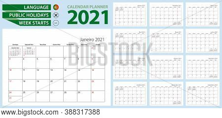 Portuguese Calendar Planner For 2021. Portuguese Language, Week Starts From Sunday. Vector Template.