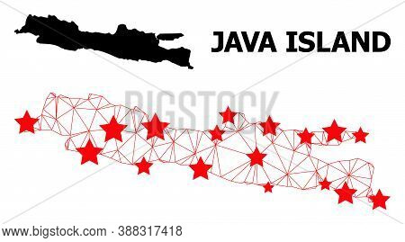 Carcass Polygonal And Solid Map Of Java Island. Vector Model Is Created From Map Of Java Island With