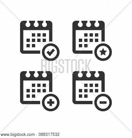 Calendar Simple Vector Icon Set. Calendar With Plus, Minus, Tick And Star Symbol.