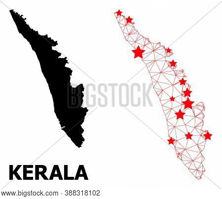 Carcass Polygonal And Solid Map Of Kerala State. Vector Structure Is Created From Map Of Kerala Stat