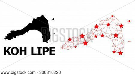 Carcass Polygonal And Solid Map Of Koh Lipe. Vector Structure Is Created From Map Of Koh Lipe With R