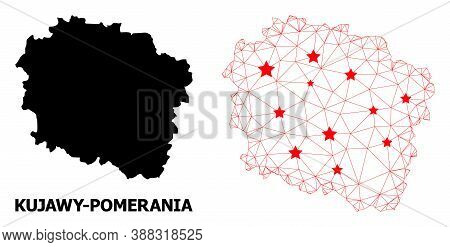 Mesh Polygonal And Solid Map Of Kujawy-pomerania Province. Vector Structure Is Created From Map Of K
