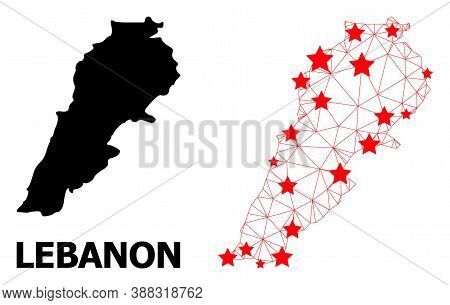 Wire Frame Polygonal And Solid Map Of Lebanon. Vector Structure Is Created From Map Of Lebanon With