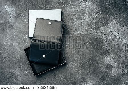 New Black Leather Wallet On Dark Background