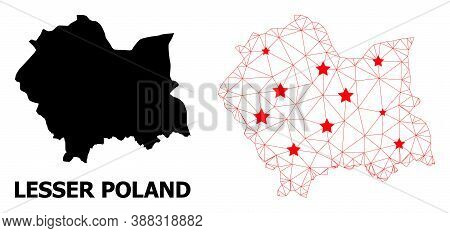 Network Polygonal And Solid Map Of Lesser Poland Province. Vector Structure Is Created From Map Of L