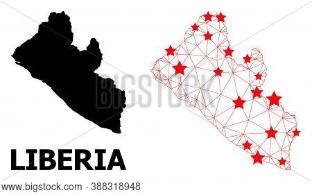 Network Polygonal And Solid Map Of Liberia. Vector Structure Is Created From Map Of Liberia With Red