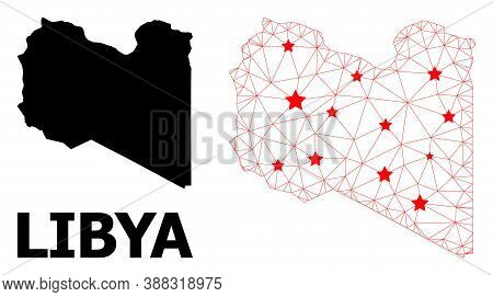 Wire Frame Polygonal And Solid Map Of Libya. Vector Structure Is Created From Map Of Libya With Red
