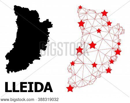Mesh Polygonal And Solid Map Of Lleida Province. Vector Structure Is Created From Map Of Lleida Prov