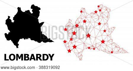 Wire Frame Polygonal And Solid Map Of Lombardy Region. Vector Structure Is Created From Map Of Lomba