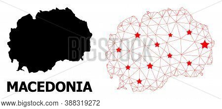 Mesh Polygonal And Solid Map Of Macedonia. Vector Structure Is Created From Map Of Macedonia With Re